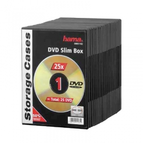 HAMA Lot de 25 Boitiers DVD Slim Souples Noirs