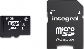 INTEGRAL Carte Micro SDXC Ultima Pro 64GB (90MB/s) (Class 10) + Adapt
