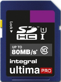 INTEGRAL Carte SDHC Ultima Pro 16GB (80MB/s) (Class 10)