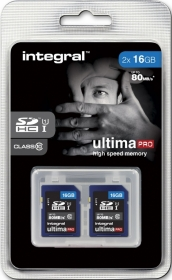 INTEGRAL Cartes SDHC Ultima Pro 16GB (x2) (80MB/s) (Class 10)