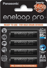 PANASONIC Eneloop Pro 4 Batteries LR6 (AA) 2500mAh (Ready to use)